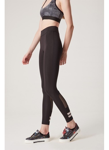 Z Giyim Yüksek Bel Paça Şeritli Transparan Detaylı Dalgıç Tayt Siyah